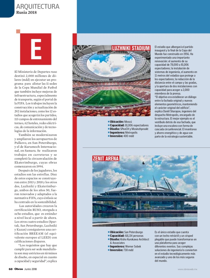 Estadios Mundial de Rusia 2018